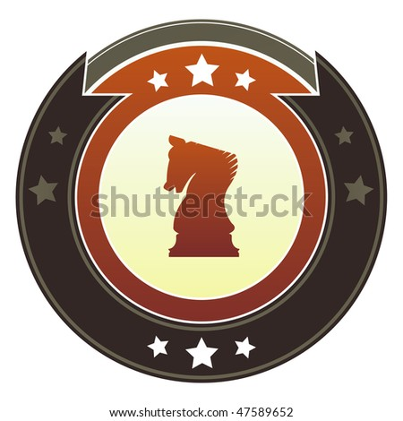 Chess, knight or strategy icon on round red and brown imperial vector button with star accents suitable for use on website, in print and promotional materials, and for advertising. - stock vector