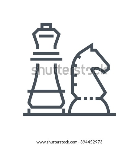 Chess knight, strategy icon suitable for info graphics, websites and print media and  interfaces. Line vector icon. - stock vector