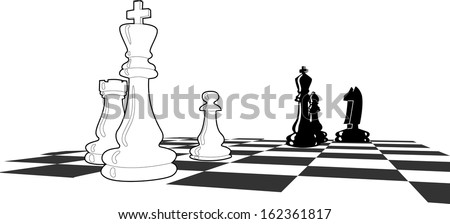 Chess match with few figures left, final stages, final shoot down, black and white vector illustration  - stock vector