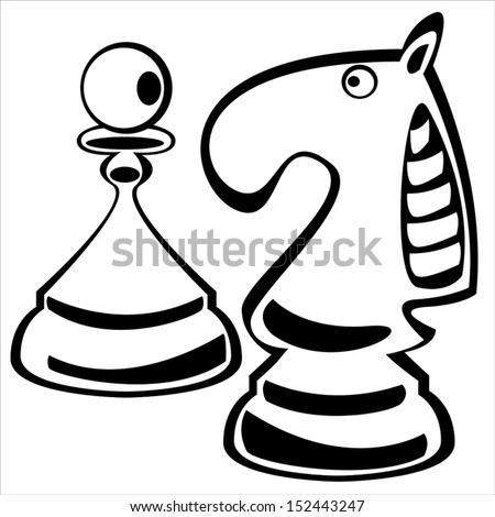 chess pawn and knight on white background - stock vector