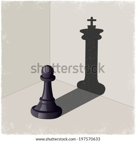 Chess pawn casting a king piece shadow in vector - stock vector