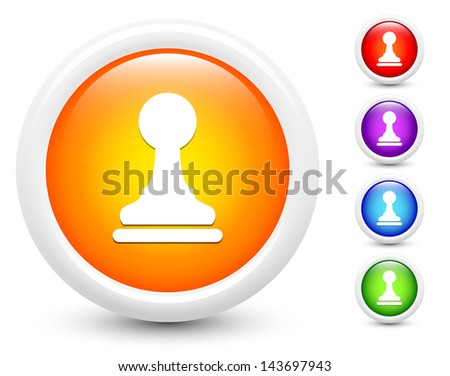 Chess Pawn Icons on Round Button Collection Original Illustration - stock vector
