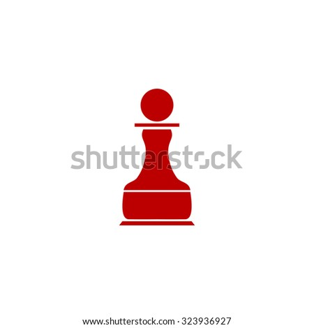 Chess Pawn. Red flat icon. Vector illustration symbol - stock vector