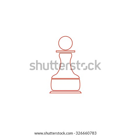 Chess Pawn. Red outline vector pictogram on white background. Flat simple icon - stock vector