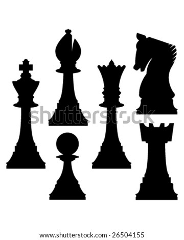 Chess pieces in vector silhouette including king, queen, rook, pawn, knight, and bishop - stock vector