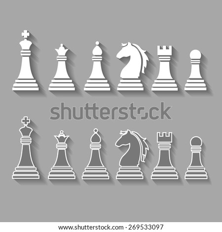 chess pieces including king, queen, rook, pawn knight, and bishop vector  icons,  set  - stock vector