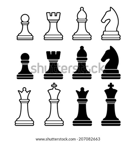 Chess Pieces Including King Queen Rook Pawn Knight and Bishop. Vector Illustration Icons Set - stock vector