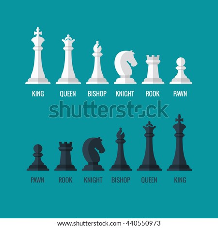 Chess pieces king queen bishop knight rook pawn flat vector icons set. Chess figures black and white. Team with chess pieces illustration - stock vector