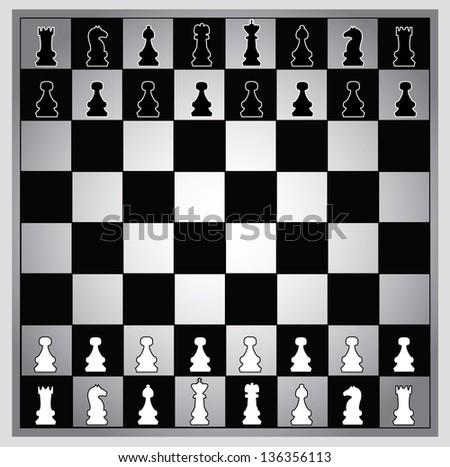 Chess pieces on black and white chessboard - stock vector