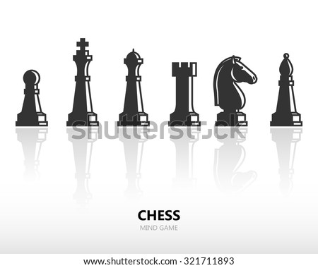 Chess pieces or chess figures. Vector silhouette icon set with reflection - stock vector
