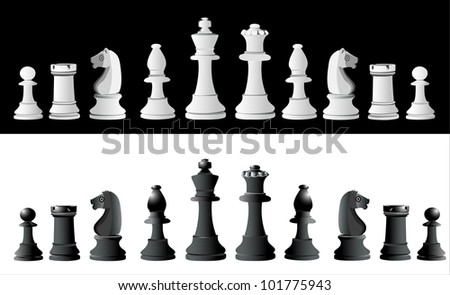 Chess pieces set A complete set of chess pieces. No meshes used. - stock vector