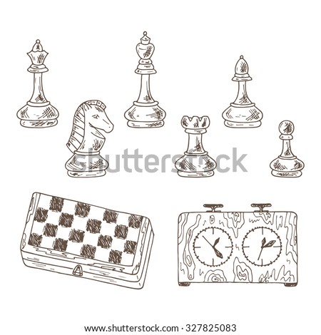 Chess Pieces Vector Set. Hand drawn doodle king, queen, bishop, knight, rook, pawn and chess board, chess clock. - stock vector