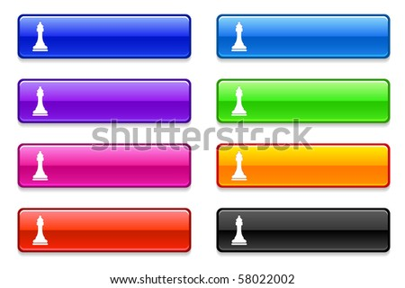 Chess Queen Icon on Long Button Collection Original Illustration - stock vector