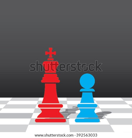 chess red king and blue pawn stand in front each other design vector - stock vector