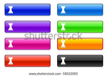 Chess Rook Icon on Long Button Collection Original Illustration - stock vector