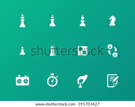 Chess strategy icons on green background. Vector illustration. - stock vector