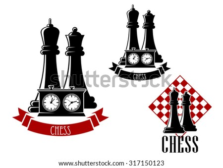 Chess tournament icons with black kings and queens behind game clock, decorated by ribbon banner and another variant with chessboard - stock vector