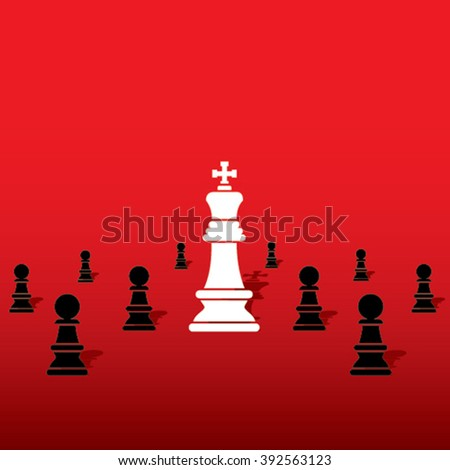 chess white king with black pawn team concept design vector - stock vector