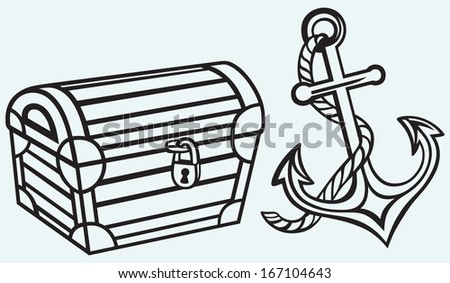 Chest and anchor isolated on blue background - stock vector