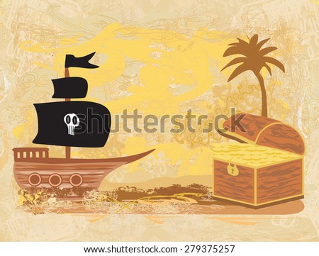 chest full of gold and a pirate ship - stock vector