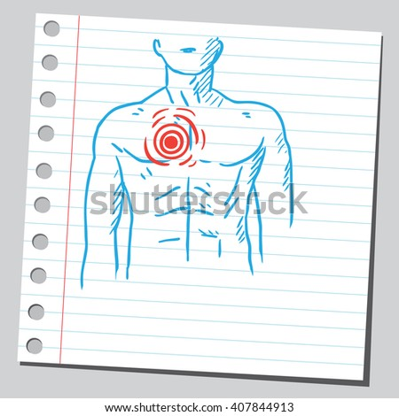 Chest pain - stock vector
