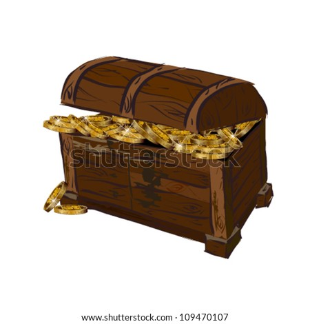 Chest with coins - stock vector