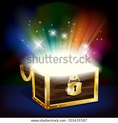 Chest with glowing treasure - vector file - stock vector