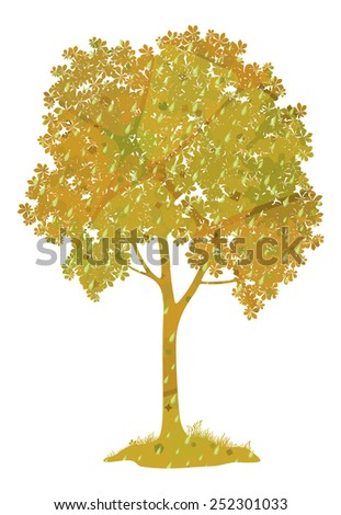 Chestnut tree with leaves, grass, rain drops and abstract pattern isolated on a white background, a symbol of autumn. Eps10, contains transparencies. Vector - stock vector
