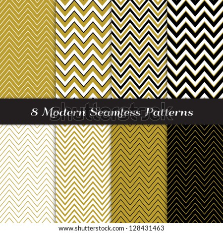 Chevron Patterns in Black, Gold and White. Classic neutral colors! Pattern Swatches made with Global Colors - easy to change all patterns in one click. - stock vector