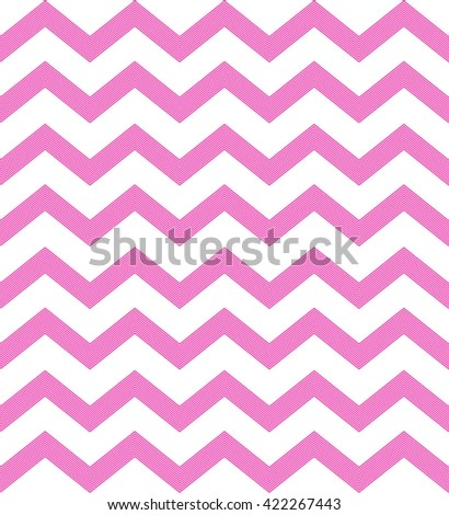 Chevron seamless pattern in coral pink color. Zig zag wave is composed of lines. Vector. - stock vector