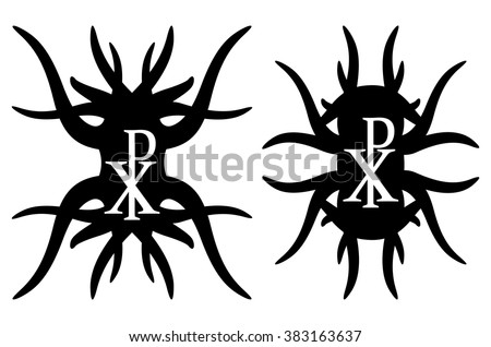 Chi rho hipster elements. Christogram. Isolated on white background - stock vector