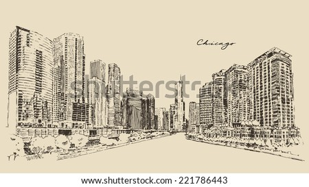 Chicago, big city, architecture, engraving vector illustration, hand drawn - stock vector