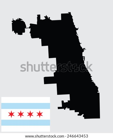 Chicago City map vector map, isolated on white background. High detailed silhouette illustration. Flag of Chicago City, Original flag isolated vector in official colors and Proportion Correctly.  - stock vector