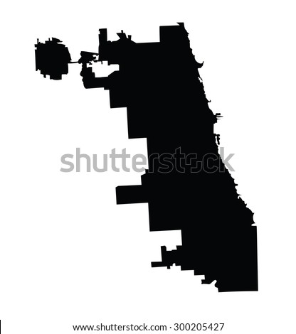 Chicago City Map Vector Map Isolated On White Background