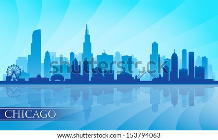 Chicago city skyline detailed silhouette. Vector illustration  - stock vector