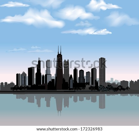 Chicago city skyline detailed silhouette with reflection in water. Illinois Vector illustration - stock vector