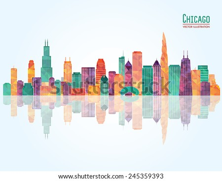 Chicago city skyline. Vector illustration - stock vector