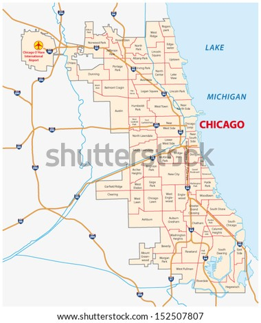 chicago community areas, map - stock vector