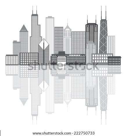 Chicago Illinois City Skyline Panorama Grayscale Outline Silhouette with Reflection Isolated on White Background Vector Illustration - stock vector