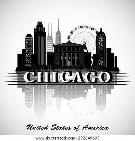 Chicago Illinois city skyline silhouette. Typographic Design  - stock vector