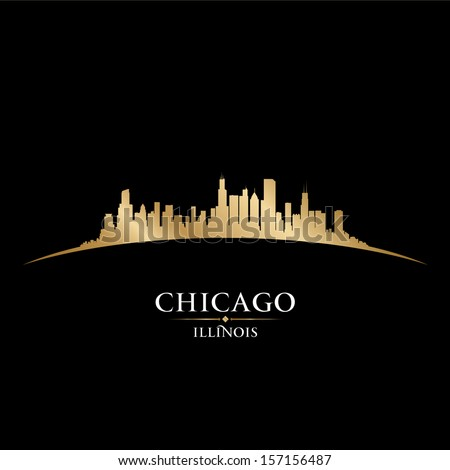 Chicago Illinois city skyline silhouette. Vector illustration - stock vector