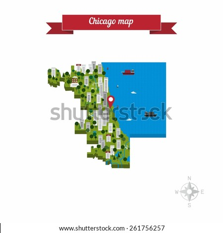 Chicago, Illinois, United States of America cartoon isolated closeup map. Flat style design - vector. - stock vector