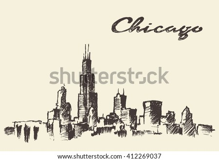 Chicago skyline, big city architecture, engraving vector illustration, hand drawn - stock vector