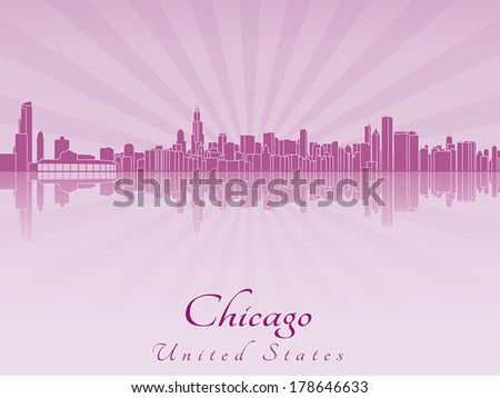 Chicago skyline in purple radiant orchid in editable vector file - stock vector