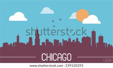 Chicago USA skyline silhouette flat design vector illustration. - stock vector
