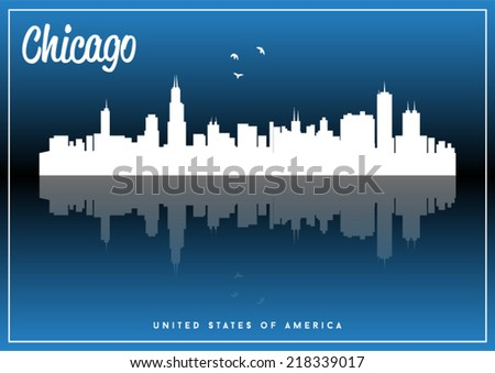 Chicago, USA skyline silhouette vector design on parliament blue background. - stock vector