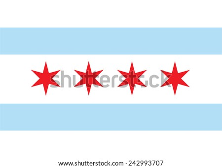 Chicago vector flag. Chicago city flag, state of Louisiana, U.S.A.  - stock vector
