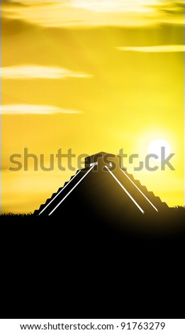 Chichen Itza The main pyramid El Castillo - stock vector