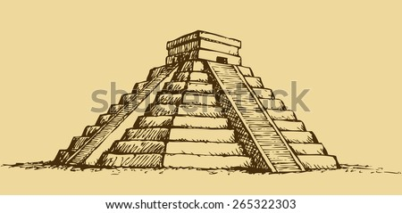 Chichen Itza Tulum the Kukulcan crypt tomb pyramid El Castillo, Carmen. Vector monochrome freehand ink drawn background sketch in art scribble antiquity style pen on paper with space for text on sky - stock vector