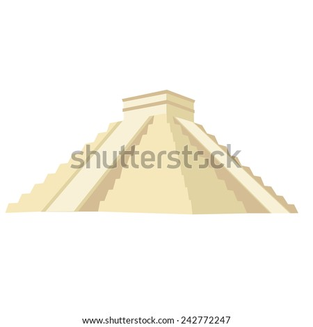 Chichen itza vector isolated, maya monument, stone - stock vector